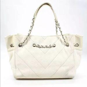 Chanel Canvas Chain Strap Snap Tote Handbag